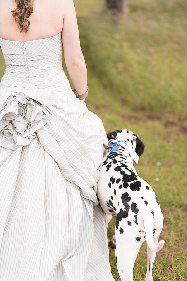 a bride with her dog at lodge park