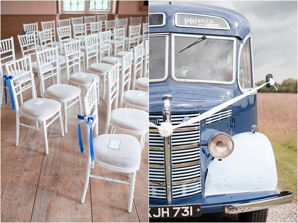 Chairs at lodge park ready for a ceremony and a vintage bus