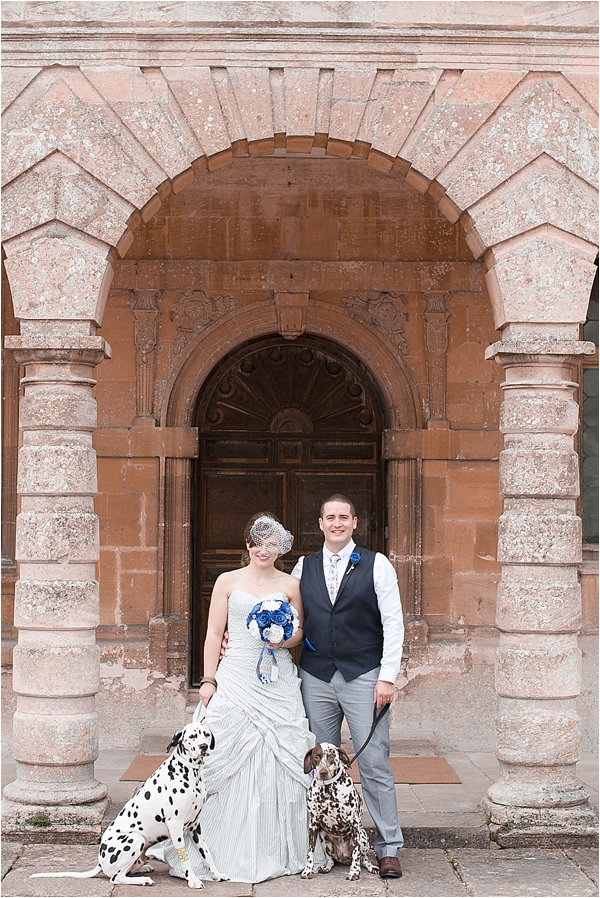A bride and groom outside lodge park