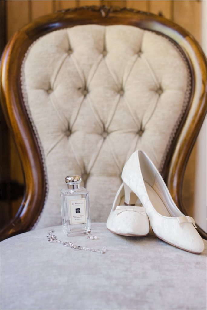 Jo Malone perfume, lace shoes and jewellery for a bride